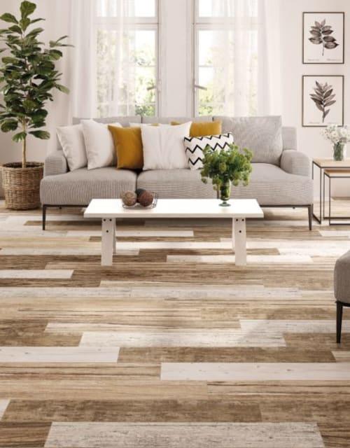 living room with multi colored hardwood plank flooring