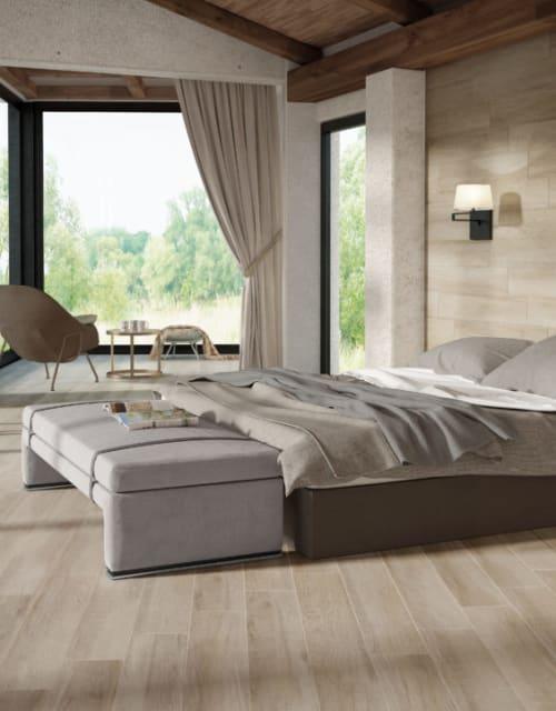 bedroom with light hardwood flooring