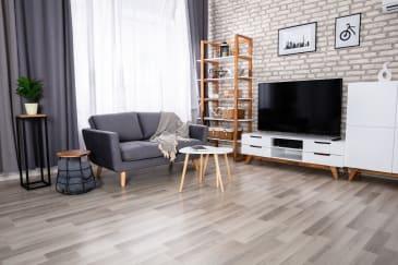 gray luxury vinyl plank flooring (LVP) in a living room
