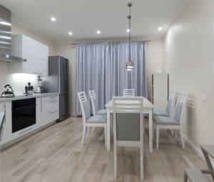 gray luxury vinyl plank flooring (LVP) in a kitchen
