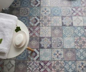 patterned multi-color tile flooring in a bathroom