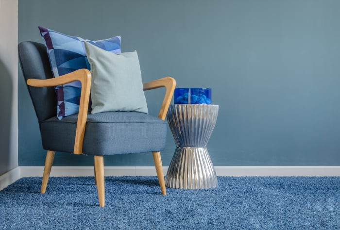 blue carpet with blue chair