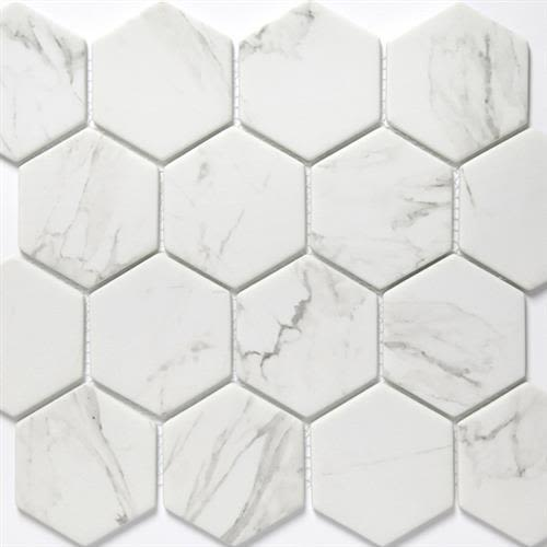 "Swatch for Calacatta 3"" Hexagon flooring product"