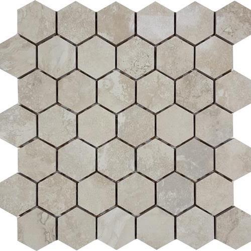 "Progress Mosaics in Almond 2"" Hexagon Mosaic - Tile by Tesoro"