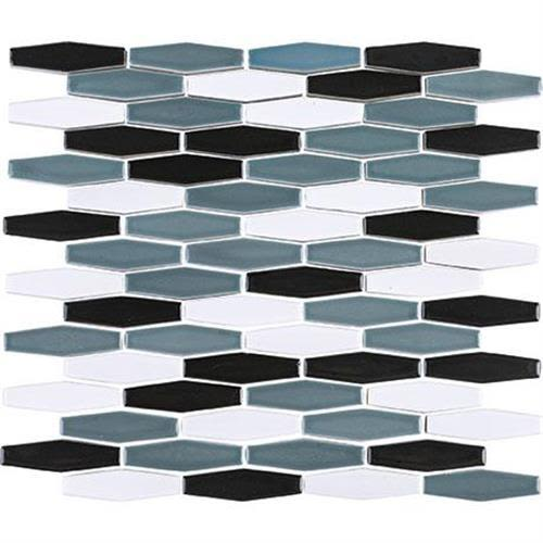 Nu Tempo in Midnight Blue Mosaic (1/2 X 3 Linear Hex)   11x12 - Tile by Marazzi